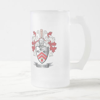 Oliver Family Crest Coat of Arms Frosted Glass Beer Mug