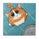 Oliver | Hungry Ginger Tabby Cat Art Tile