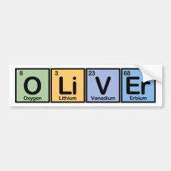 Bumper Sticker with Oliver made of Elements design