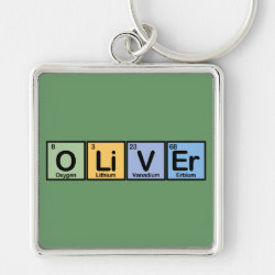 Premium Square Keychain with Oliver made of Elements design