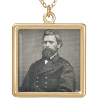 Oliver Otis Howard (1830-1909), engraved by Robert Square Pendant Necklace