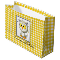 Oliver Owl Yellow & White Baby Shower Gift Bag