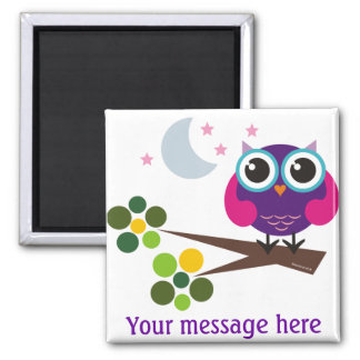 Oliver the Owl Customizable 2 Inch Square Magnet