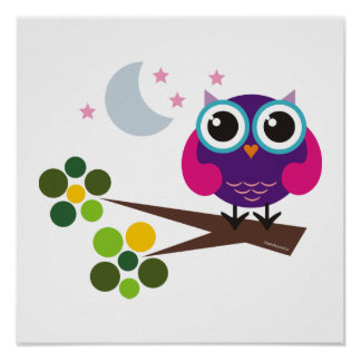 Oliver The Owl Print Kids Room Decor