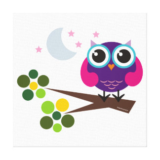 Oliver the Owl Stretched Canvas Wall Art