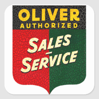 Oliver Tractors vintage sales and service sign Square Sticker
