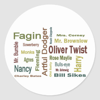 Oliver Twist Characters Classic Round Sticker