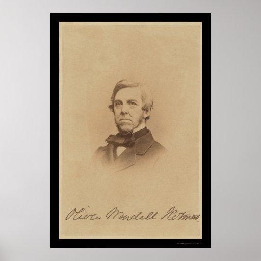 Oliver Wendell Holmes Signed Card 1875 Poster