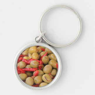 Olives and Chillies Keychain/Keyring Silver-Colored Round Keychain