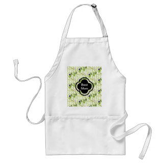 Olives and flowes with light green stripes adult apron