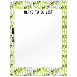 Olives and flowes with light green stripes Dry-Erase board