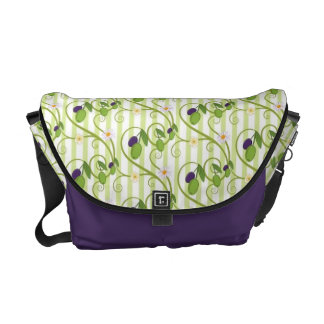 Olives and flowes with light green stripes messenger bags