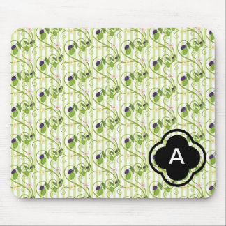 Olives and flowes with light green stripes mouse pad