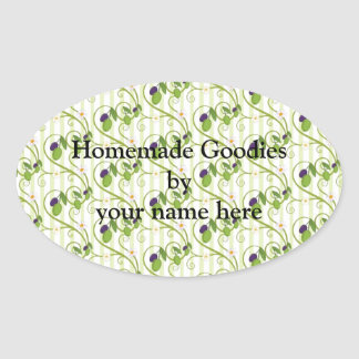 Olives and flowes with light green stripes oval sticker