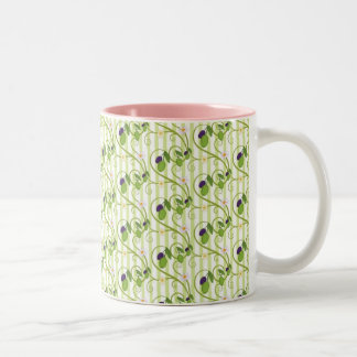Olives and flowes with light green stripes Two-Tone coffee mug