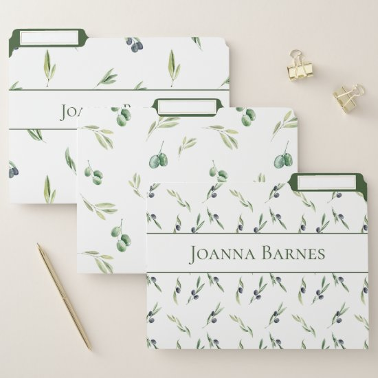 Olives and Greenery Monogram | File Folder
