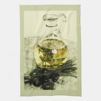 Olives and olive oil kitchen towel