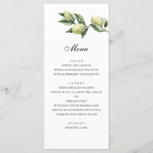 Olives Menu Italian Wedding Green Dinner
