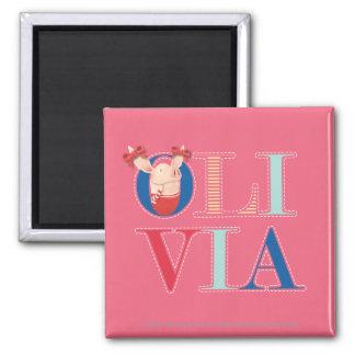 Olivia - 3 imán cuadrado