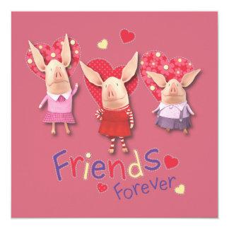 """Olivia - amigos para siempre invitación 5.25"""" x 5.25"""""""