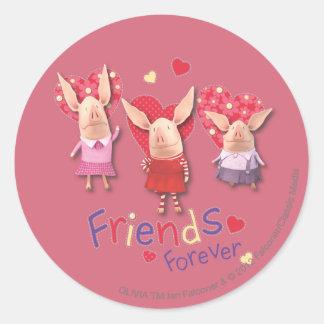 Olivia - amigos para siempre pegatina redonda