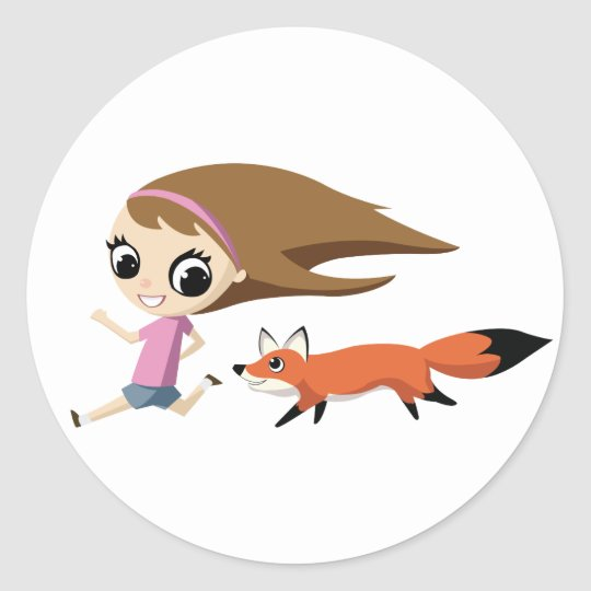 Olivia and Cheddar the Fox Classic Round Sticker