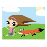 Olivia and Cheddar the Fox Post Card