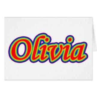 Olivia - arco iris - en blanco tarjeta pequeña