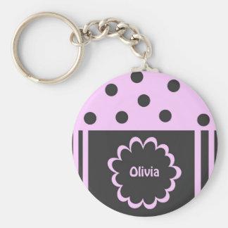 Olivia Basic Round Button Keychain
