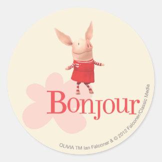 Olivia - Bonjour Classic Round Sticker