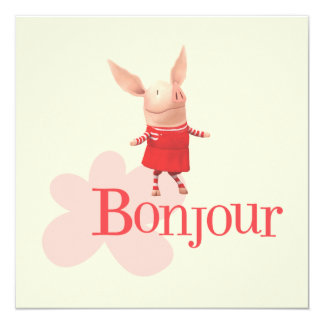 """Olivia - Bonjour Invitación 5.25"""" X 5.25"""""""