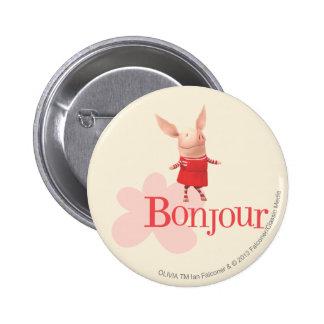 Olivia - Bonjour Pinback Button