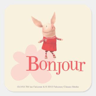 Olivia - Bonjour Square Sticker