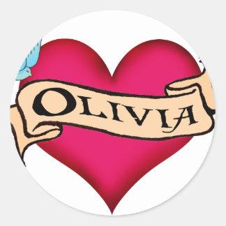 Olivia - camisetas y regalos de encargo del tatuaj etiqueta redonda