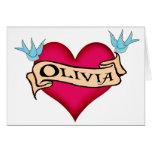 Olivia - camisetas y regalos de encargo del tatuaj tarjeton