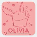 Olivia - chispas pegatinas cuadradases personalizadas
