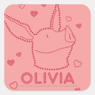 Olivia - chispas pegatina cuadrada