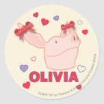 Olivia - corazones pegatina redonda