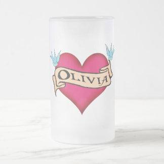 Olivia - Custom Heart Tattoo T-shirts & Gifts Frosted Glass Beer Mug