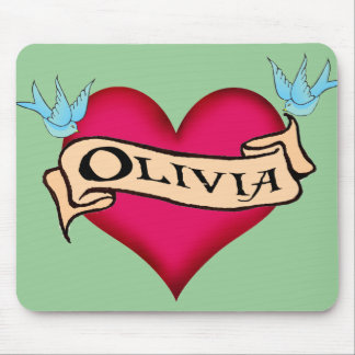 Olivia - Custom Heart Tattoo T-shirts & Gifts Mouse Pads