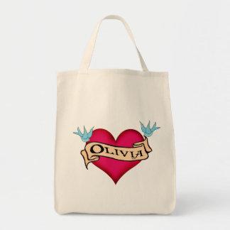 Olivia - Custom Heart Tattoo T-shirts & Gifts Tote Bag