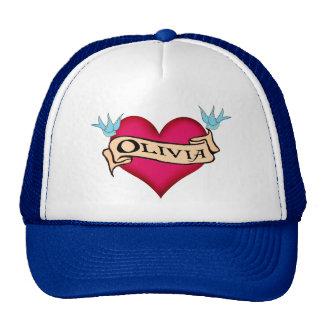 Olivia - Custom Heart Tattoo T-shirts & Gifts Trucker Hat