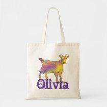 Olivia Cute Colourful Artsy Goat Farm Animal Art Tote Bag