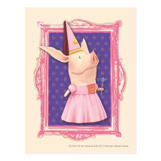 Olivia en marco rosado postales