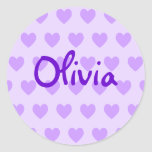 Olivia en púrpura pegatina redonda