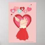 Olivia en vestido rojo poster