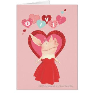 Olivia en vestido rojo tarjeta de felicitación