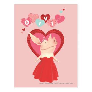 Olivia en vestido rojo postal