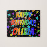 "[ Thumbnail: ""Olivia"" First Name, Fun ""Happy Birthday"" Jigsaw Puzzle ]"