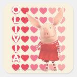 Olivia - fondo del corazón calcomanias cuadradas
